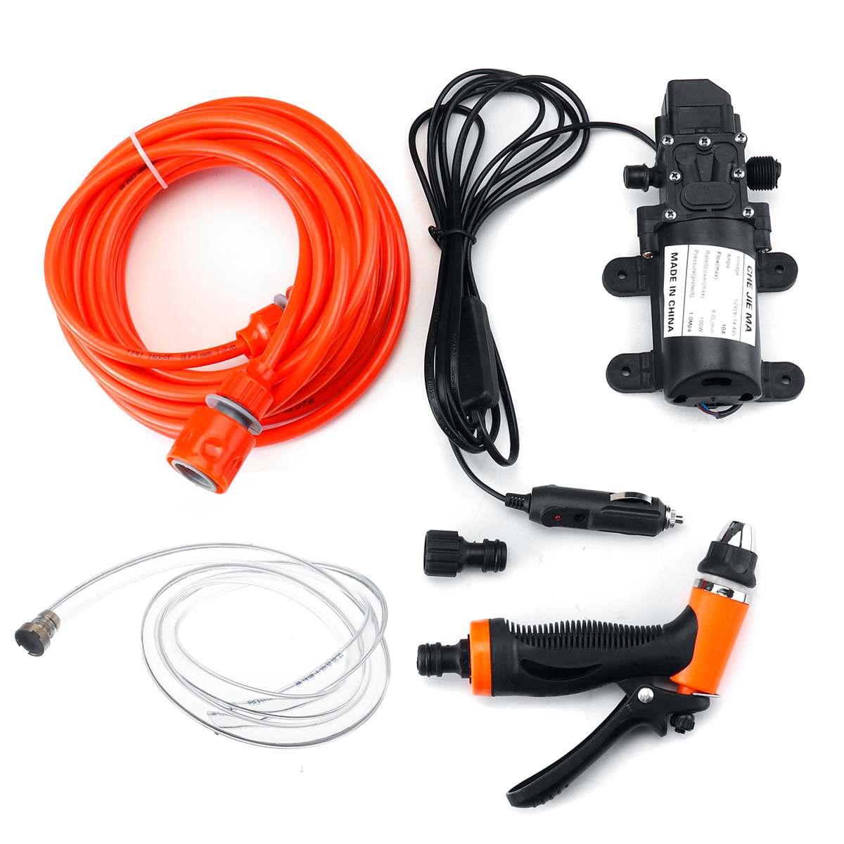 12V 100W 160PSI High Pressure Self-priming Electric Car Wash Pump Portable Washing Machine Cigarette Lighter Water Pump Set