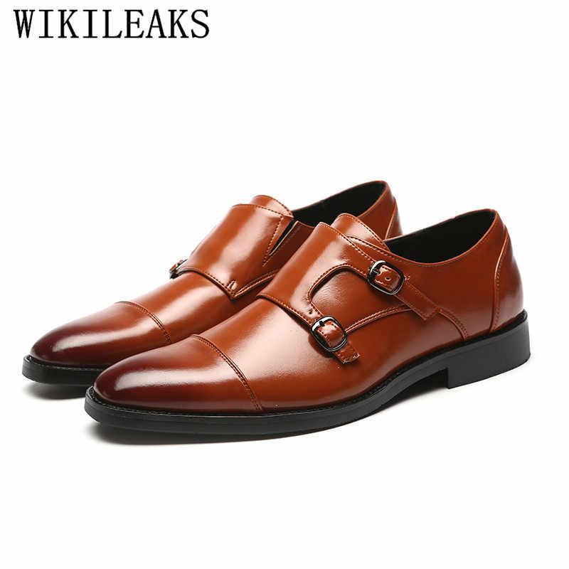 Italiano di marca di lusso in pelle formale scarpe uomo classic oxford scarpe per gli uomini fannulloni degli uomini pattini di vestito doppio monk strap calzature