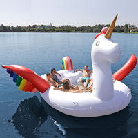 5M Giant Inflatable Unicorn Rainbow Pegasus Pool Floating swimming circle Air Mattress water toys for child adult beach party