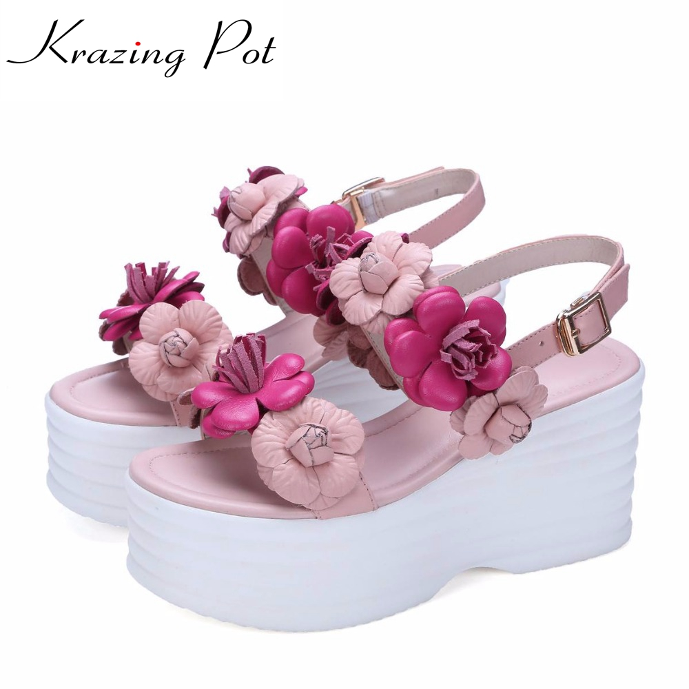 2017 fashion brand peep toe red sexy flower platform women sandals brand shoes mixed color high heel concise causal shoes L60 fashion peep toe and platform design sandals for women