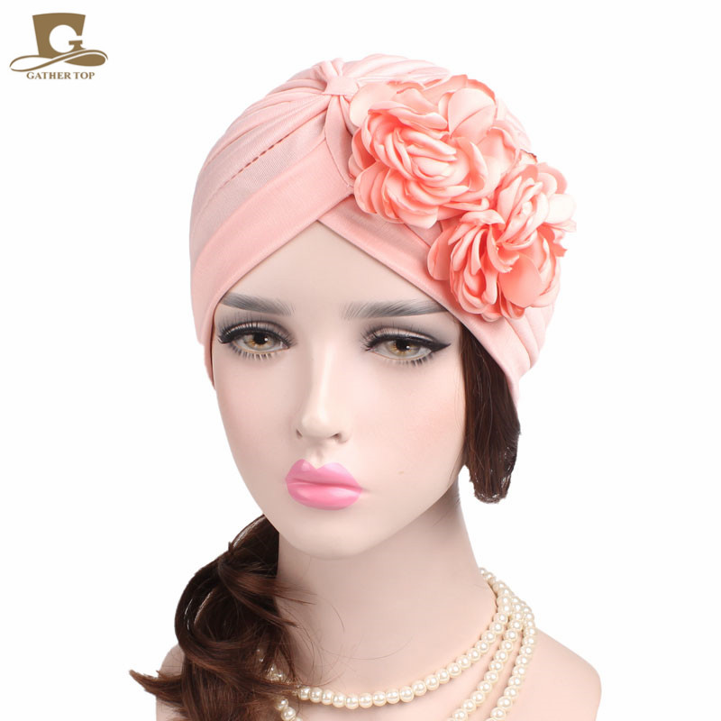 2017 new women lady girls double flower beanie turban chemo cap for hair loss chemo skullies satin cap bandana wrap cancer hat cap chemo slip on bonnet with ribbon 8 colors 10pcs lot free ship