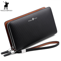WilliamPOLO 2019 Fashion New Arrival 100% Cow Leather Business Solid Zipper Long Mens Clutch Wallet Male Handbag Wallet PL170