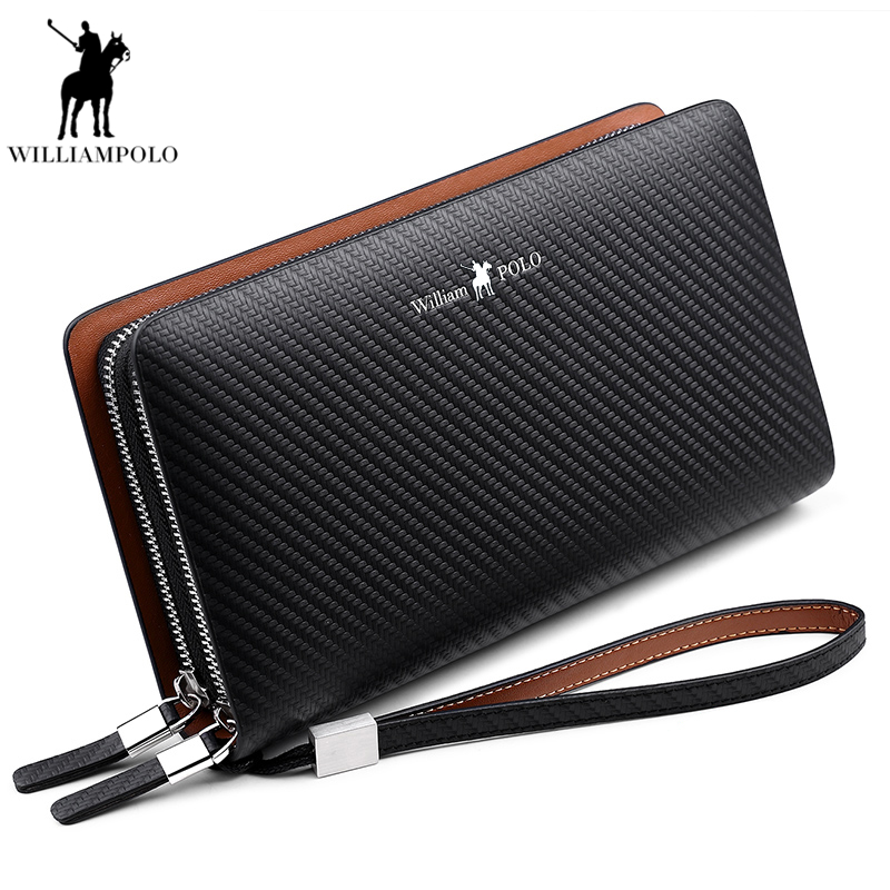 WilliamPOLO 2018 Fashion New Arrival 100% Cow Leather Business Solid Zipper Long Mens Clutch Wallet Male Handbag Wallet PL170
