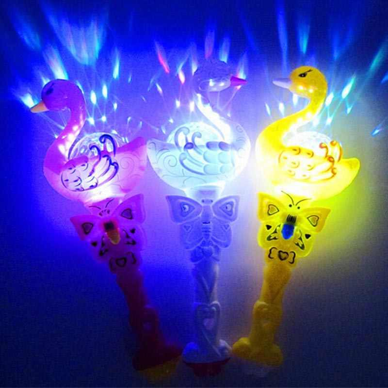 1 PC Light-Up Putri Peri Swan Kaleidoskop Proyeksi LED Sihir Tongkat Tongkat Berkedip Glow Tongkat Anak Hadiah Mainan