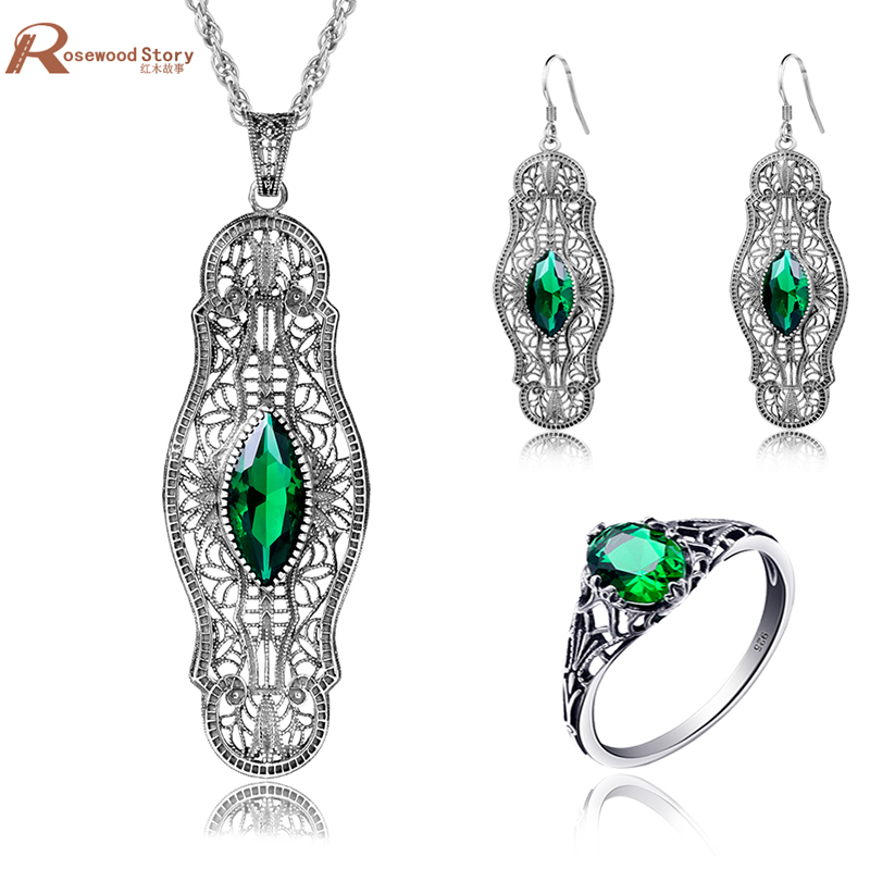 High Quality Indian Jewelry Set Green Stone Crystal Vintage Bohemia Style 925 Sterling Silver Set For Brides Wedding Accessories high quality indian style 100