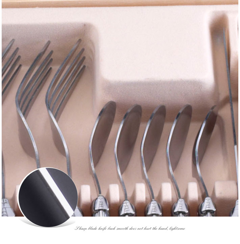 24 Piece Laguiole Style Stainless Steel Dinnerware Set Cutlery Dinnerware  Set Service for 12 Person Christmas Gifts Dinner Home