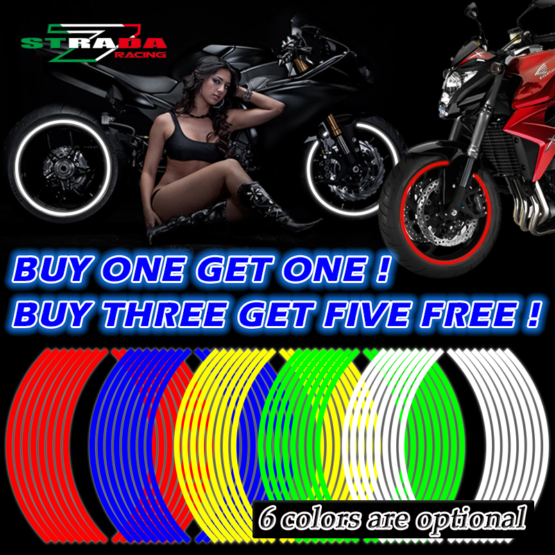 Newbee 16 Pcs Strips Motorcycle Wheel Sticker Reflective Decals Rim Tape Bike Car Styling For YAMAHA HONDA SUZUKI Harley BMW