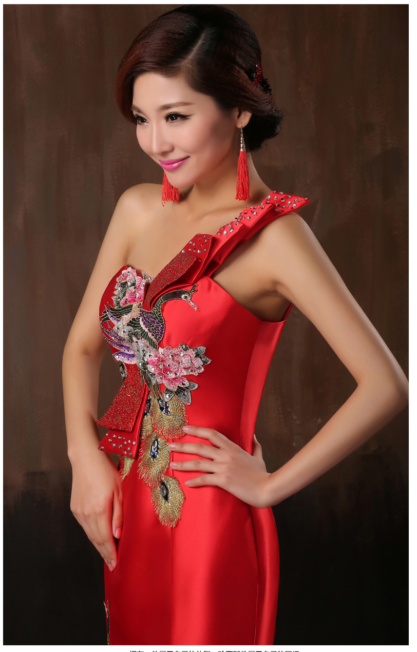 Red Long Slim Married Chinese style Wedding Dress Satin Cheongsam ...