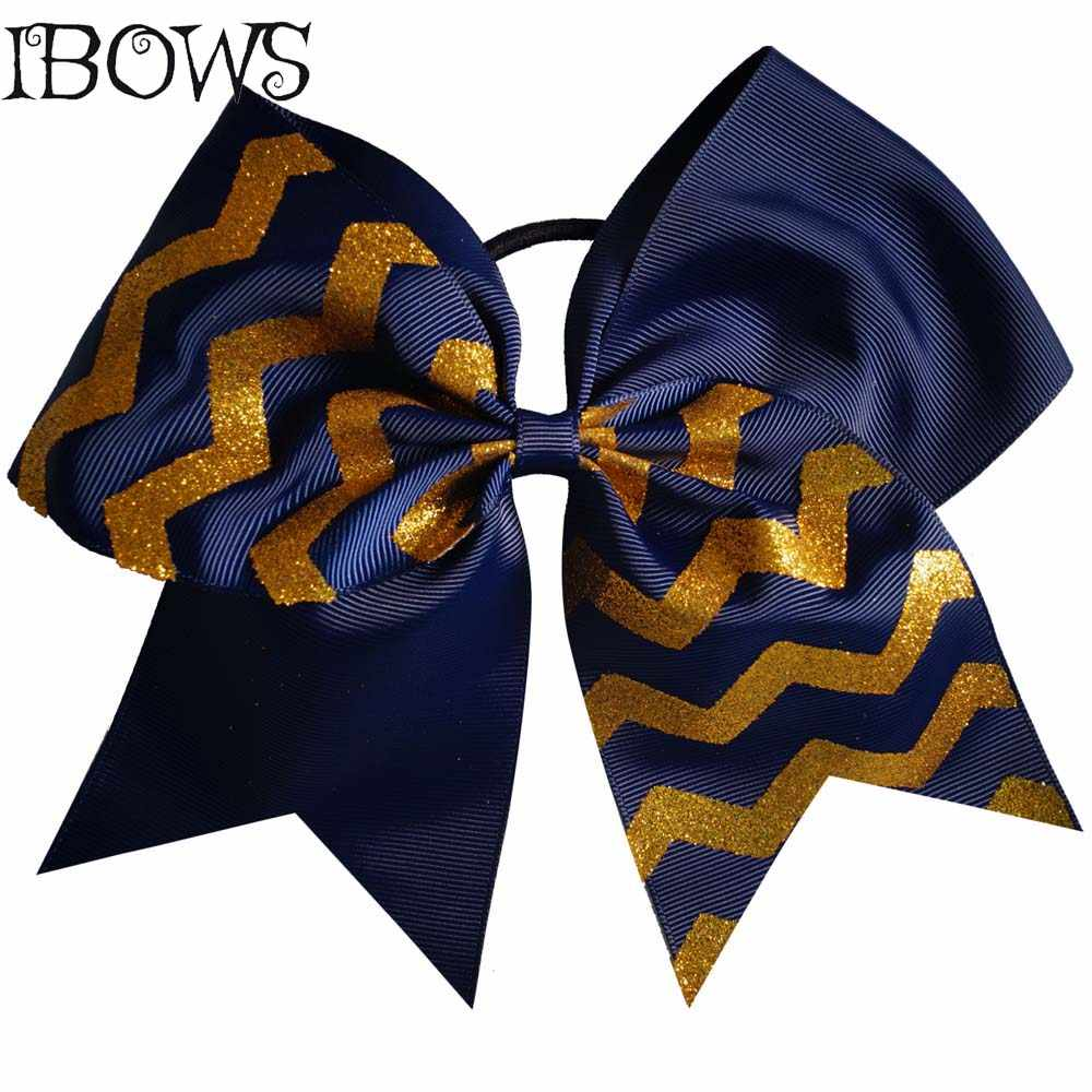 Silver and Gold Personalized Cheer Bow With Chevron Competition Custom Made Hair Bows For Young Team Girls Hair Accessories