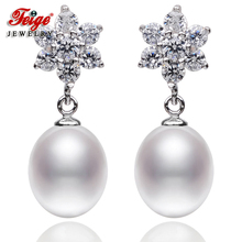 New Design Pearl Earrings For Women's, 8-9mm Rice Shape White Natural Freshwater Pearls, 100% 925 Silver Earrings, Fine jewelry недорого