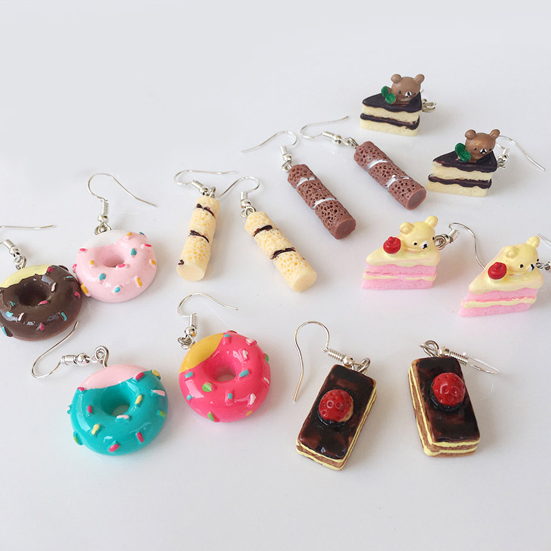 New 1Pair Cute Food Cake Donuts Lovely Cartoon Drop Earrings Personality Funny Party Girl Jewelry Gifts For Women Girls