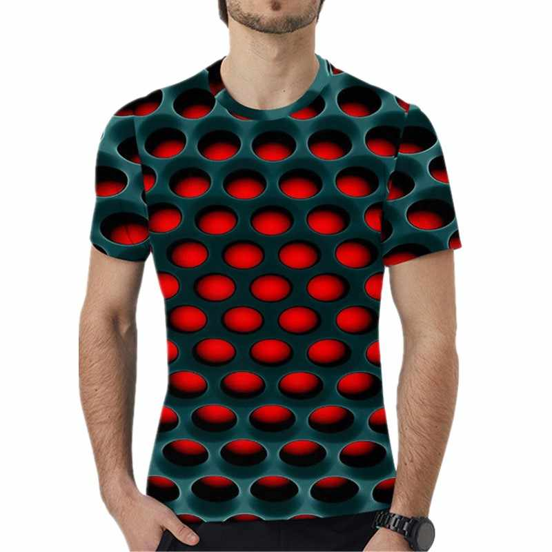 S-5XL Plus Size Mannen Kleding T-Shirts Korte Mouw O-hals Losse Grote Maat Tops Tees 2019 Zomer 3D Dot Print Losse mannen T-Shirt