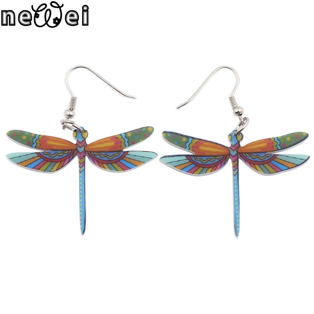 Newei Drop Dragonfly Earrings Jewelry Long Dangle Earring Acrylic  Pattern Fashion  For Women 2015 New Style Girl Accessories