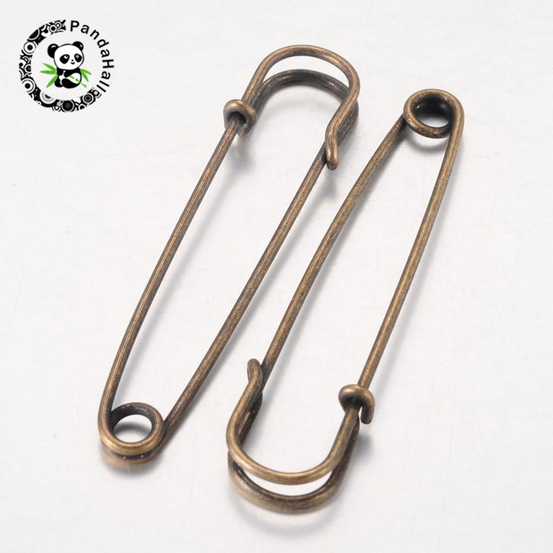 Nickel Free Iron Kilt Pins Brooch Findings, Antique Bronze Color, 70mm long, 18mm wide, 6mm thick, hole: about 6mm