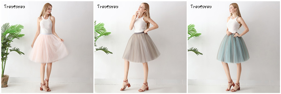 Streetwear 7 Layers 65cm Midi Pleated Skirt Women Gothic High Waist Tulle Skater Skirt rokjes dames ropa mujer 19 jupe femme 18