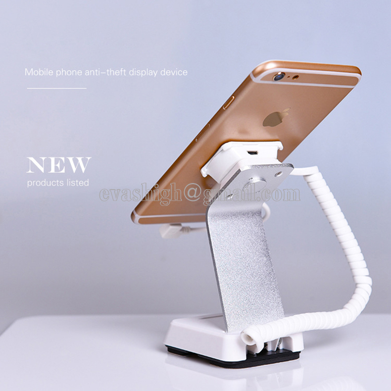 10xMobile phone security stand cell phone display holder iphone alarm charging device anti theft bracket for retail phone shop wholesale price mobile phone anti theft alarm display stand with charging for exhibition