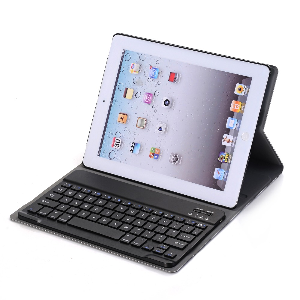 Landas Universal Wireless Bluetooth 3.0 Keyboard For iPad 2 3 Tablet Leather Case For iPad 4 Keyboard Case Cover Tablet A1458 universal tablet bluetooth keyboard leather case cover for 9 7 10 10 1 inch tablet pc for ipad 2 3 4 air 2 samsung lenovo tablet