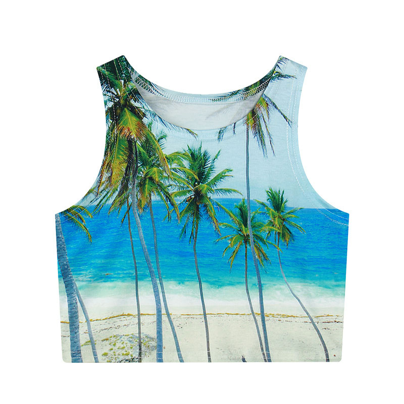Raisevern new arrival fashion cropped   top   3D emoji/palm tree/galaxy space/sexy lip print 3d crop   tops   women camisole   tank     top