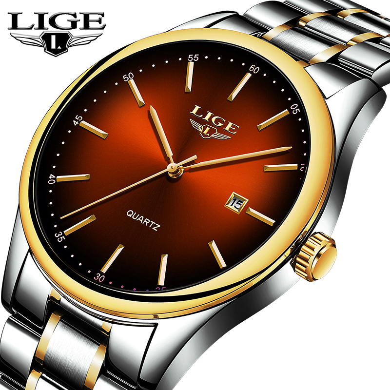 LIGE New Men's Watches Top Brand Luxury Full Steel Business Quartz Watch Men Business Sports Waterproof Clock Relojes Masculino