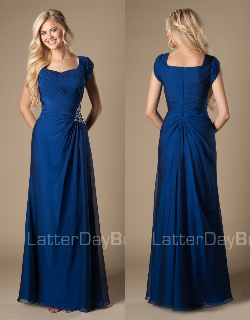 Online get cheap modest formal wear aliexpress alibaba group royal blue long beach modest bridesmaid dresses with cap sleeves country rustic women formal wear maids ombrellifo Image collections