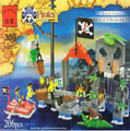 Model building kits compatible with lego pirates Skull Kiosk 3D blocks Educational model building toys hobbies for children