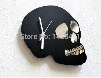 Новый дизайн зеркальный череп силуэт-настенные часы, акриловые 3D настенные Зеркальные Стикеры