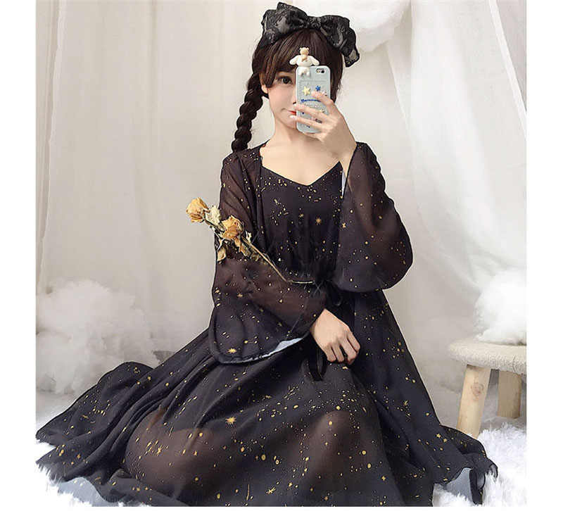 Cute Sweet Lolita Cosplay Outfit Chiffon Cardigan Dress Anime Summer Princess Doll Clothing Kawaii Girls Japanese Free Shipping