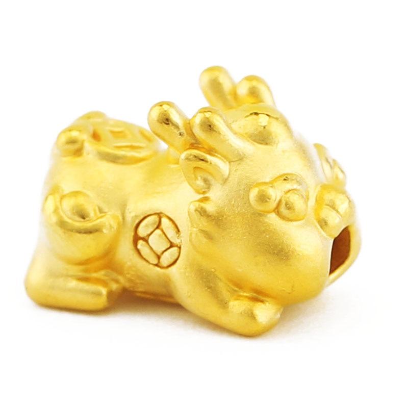 999 24K Yellow Gold bracelet Dragon Son Pixiu Red String Bracelet 0.8g все цены