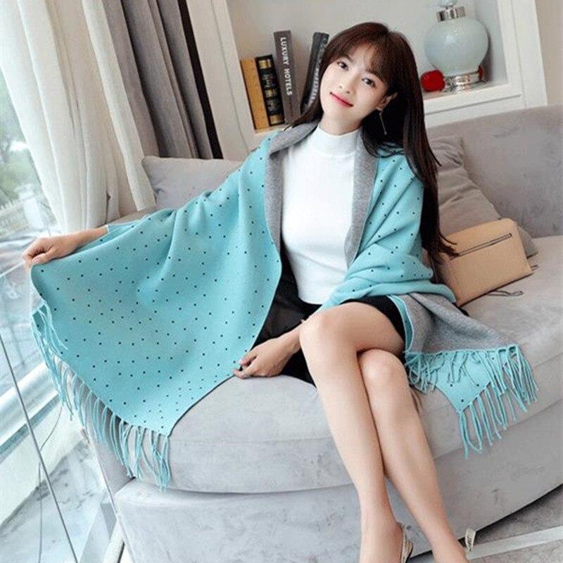 Women Scarf Winter Women Scarves Knit Wrap Shawl Thick Warm Cotton Cashmere Wool Poncho Solid Women