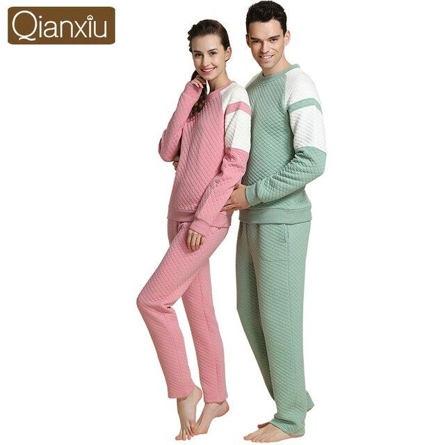 2016 High Quality Round neck thick couple home sleepwear Soild pajamas set pijamas mujer 1563