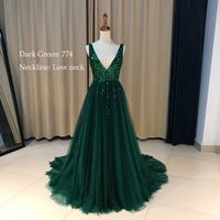 Real High Split Evening Gowns Tulle A Line Gray Beading Long Evening Dress 2017 Spaghetti Strap