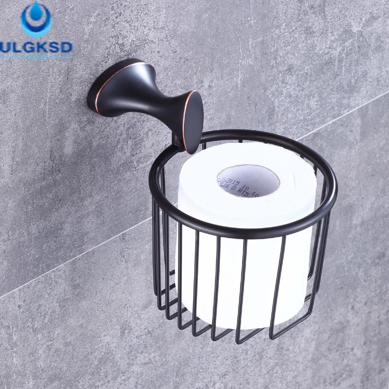 Ulgksd Bathroom Paper Tissue Holder Bath Toilet Paper Racks Storage Basket Wall Mounted creative style antique brass toilet paper holder bath storage basket wall mount