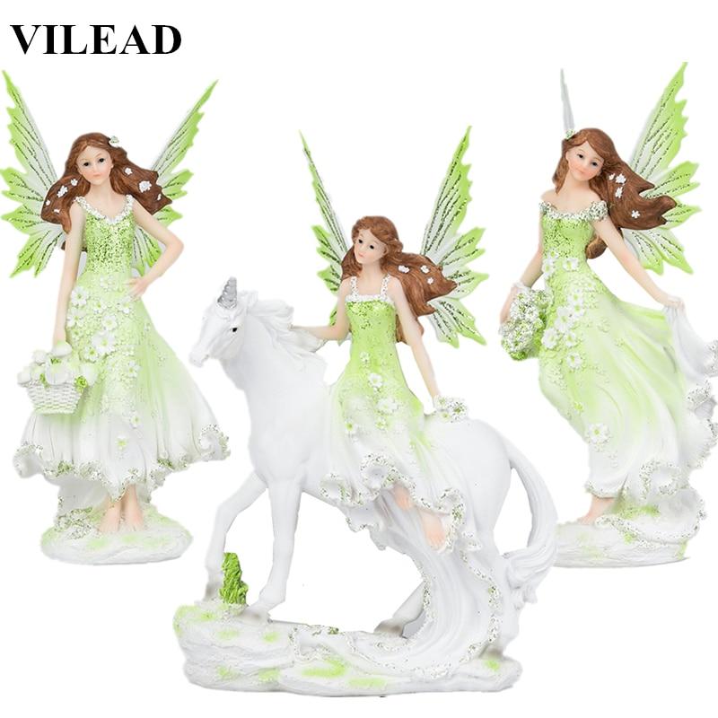 VILEAD 5 Styles Resin Angel Fairy Figurine Unicorn Horn Flower Fairy Statue Horse Miniatures Modern Animal Home Decoracion Hogar