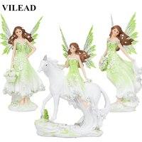 Vilead 5 estilos resina anjo fada estatueta unicórnio chifre flor estátua de fadas cavalo miniaturas moderno animal casa decoracion hogar|Estatuetas e miniaturas| |  -