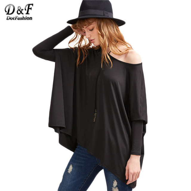 c85d7dafc2c470 Dotfashion Black Boat Neck Oversized Dolman Sleeve Tops Women Long Sleeve  Tees Basic Solid Loose T-shirt
