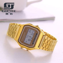 2019 New Gold LED Digital Watches Women Stainless Steel Watch Men Sport Silicone Square Wrist Watch Unisex Electronic Clock Hot honhx new fashion colorful silicone waterproof led light digital sport wrist watch watches kid women girl men boy hot sale