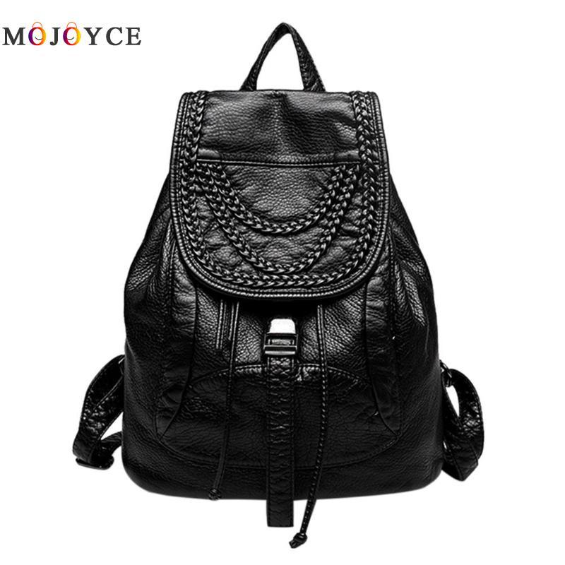 Pu Leather Women Backpacks Teenage Girls Small Drawstring Shoulder School Backpack Travel Back Pack Female Mochila