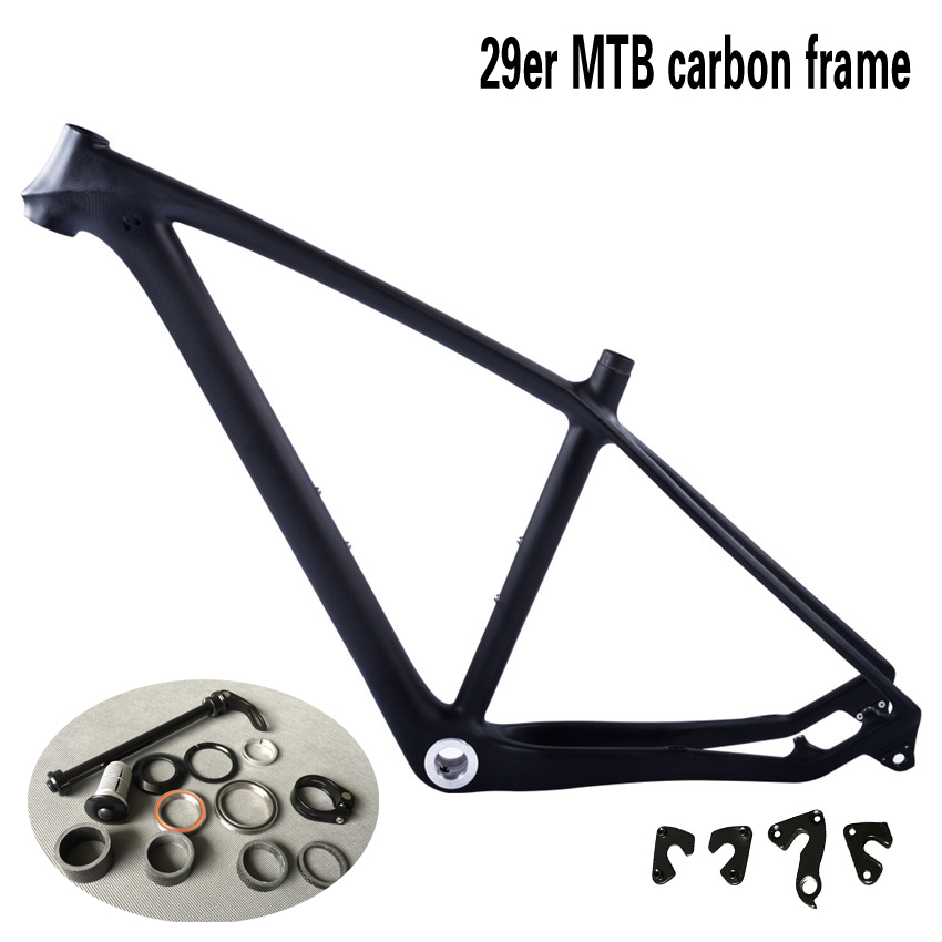 SmileTeam 2017 T800 Carbon MTB Bicycle frame 3k Matte 29er Full Carbon Mountain frame , Compatible 142x12mm Axle and 135x9mm QR smileteam new 27 5er 650b full carbon suspension frame 27 5er carbon frame 650b mtb frame ud carbon bicycle frame