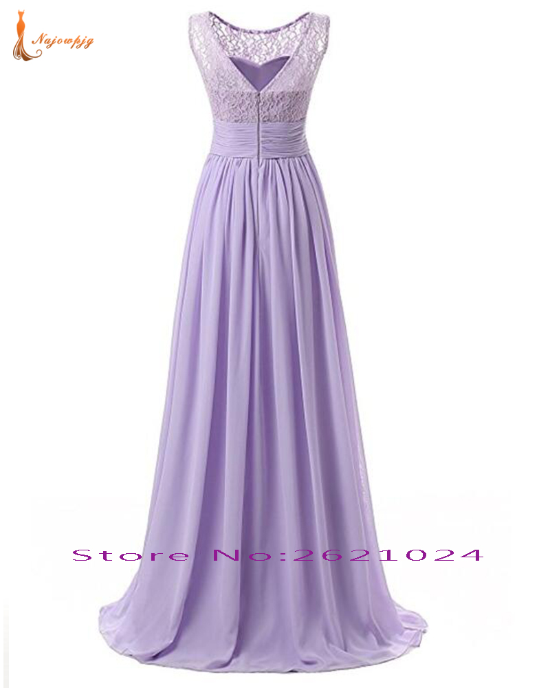 Najowpjg Custom Made Lilac Navy Blue Dark Red Yellow Mint Pink Purple Grape Lace Chiffon Pleat Waist Formal Bridesmaid Dress