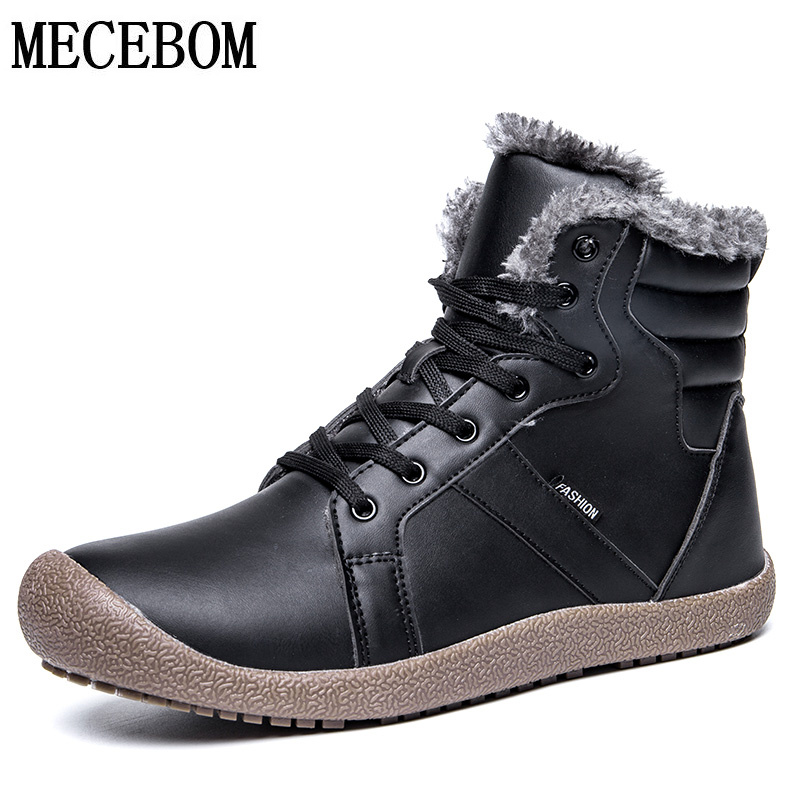 цены Winter Men Snow Boots Comfortable PU Plush Warm Men Boots Lace-up Black Men Casual Shoes Botas hombre Plus size 39-48 8723m
