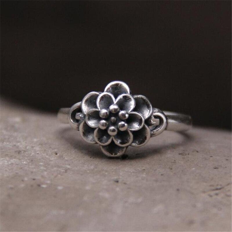 100% 925 Sterling-silber-schmuck Blume Ringe Für Frauen Hohe Qualität Vintage Style Dame Geschenk Zubehör 11,1mm 2,40g