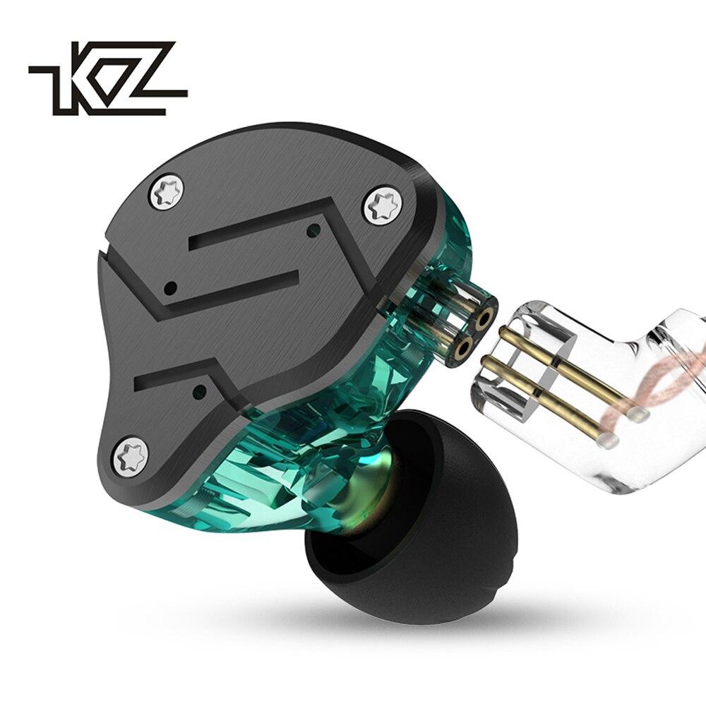 KZ ZSN de Headphones1DD + 1BA armadura controlador doble auricular desmontable en la oreja, monitores de aislamiento de ruido de música de alta fidelidad de Deportes de cuero