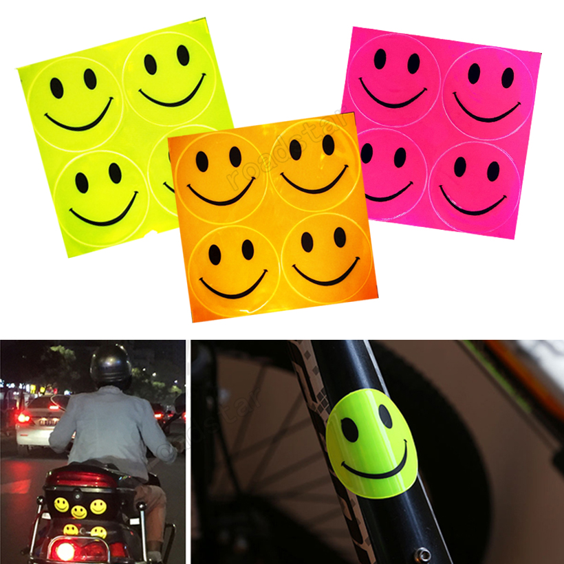 5pieces/lot Prismatic Sheeting Reflective With 20 Smiley Face For Bike