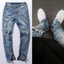 Kanye West страх Божий колено отверстие сбоку на молнии Тонкий проблемных джинсы мужчины Джастин Бибер рваные разорвал джинсы для мужчин