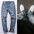Temor De Dios Jeans Para Hombre de Rodilla Agujero KANYE WEST Side cremallera Delgado Jeans Gastados Cuchillo Corte Ripped Jeans Para Hombres Freeshipping