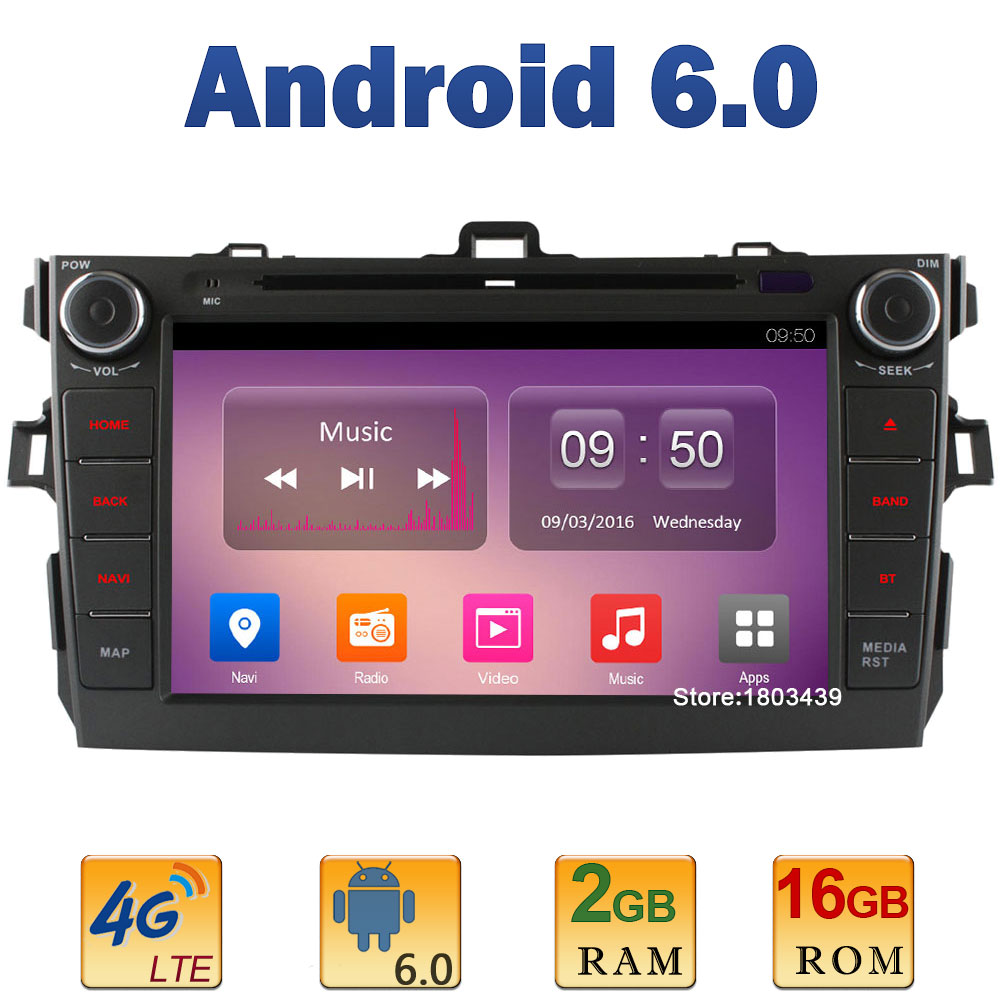 8 Quad Core 2GB RAM+16GB ROM 4G LTE SIM WIFI Android 6.0 Car DVD Player Radio Stereo For Toyota Corolla 2006-2011 DAB+AUX BT FM