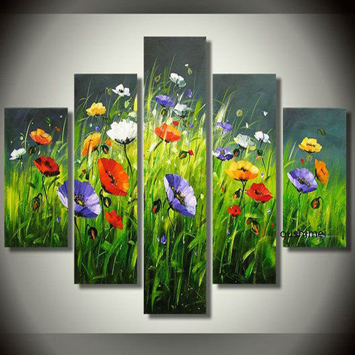 100% Hand Painted High Quality Green Oil Painting Abstract Art Home  Decoration Flowers Hotel Wall Art Picture Group Of Paintings