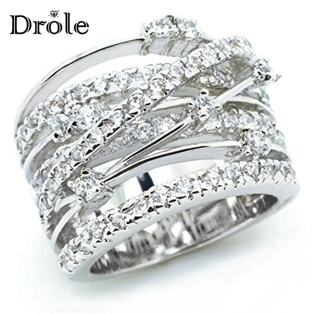 New Arrival Silver Rose Gold Zircon Stone Rings for Women Fashion Jewelry Engagement Wedding ...