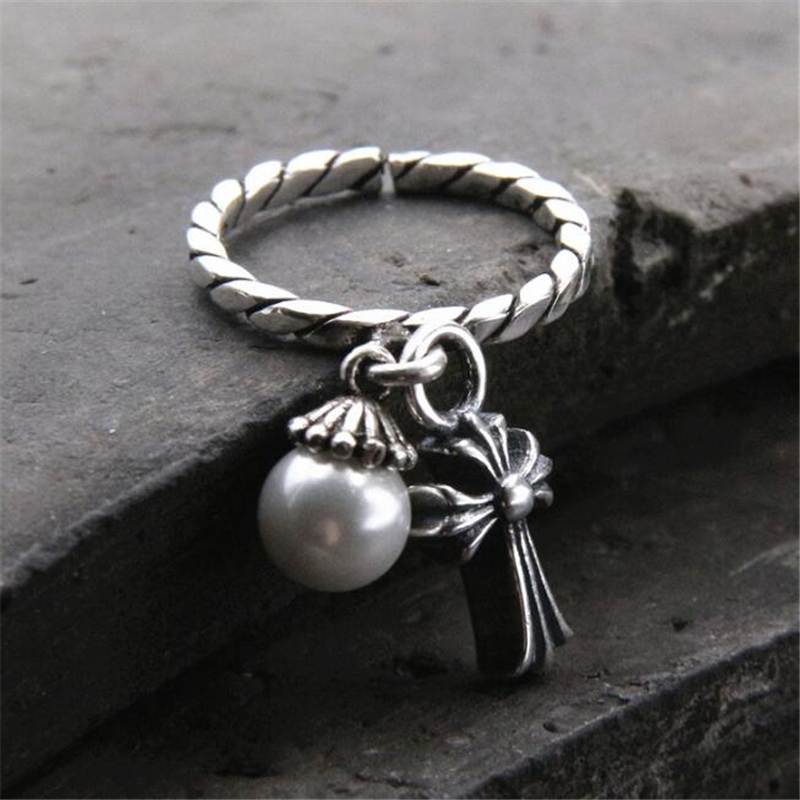 2018 New Shell Pearl Finger Rings Fashion Retro Geometric Cross Charms Ring 925 Sterling Silver Opening Finger Ring
