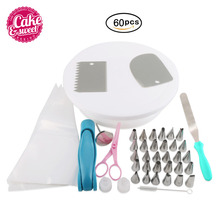 60pcs Cake Turntable Cake Decorating Tools Set Rotating Cake Stand Revolving Baking Tools Kitchen Display Stand DIY Cake dcrt rotating cake stand decorating tools set cake turntable icing tips cake spatula scissors set diy baking tool for cake